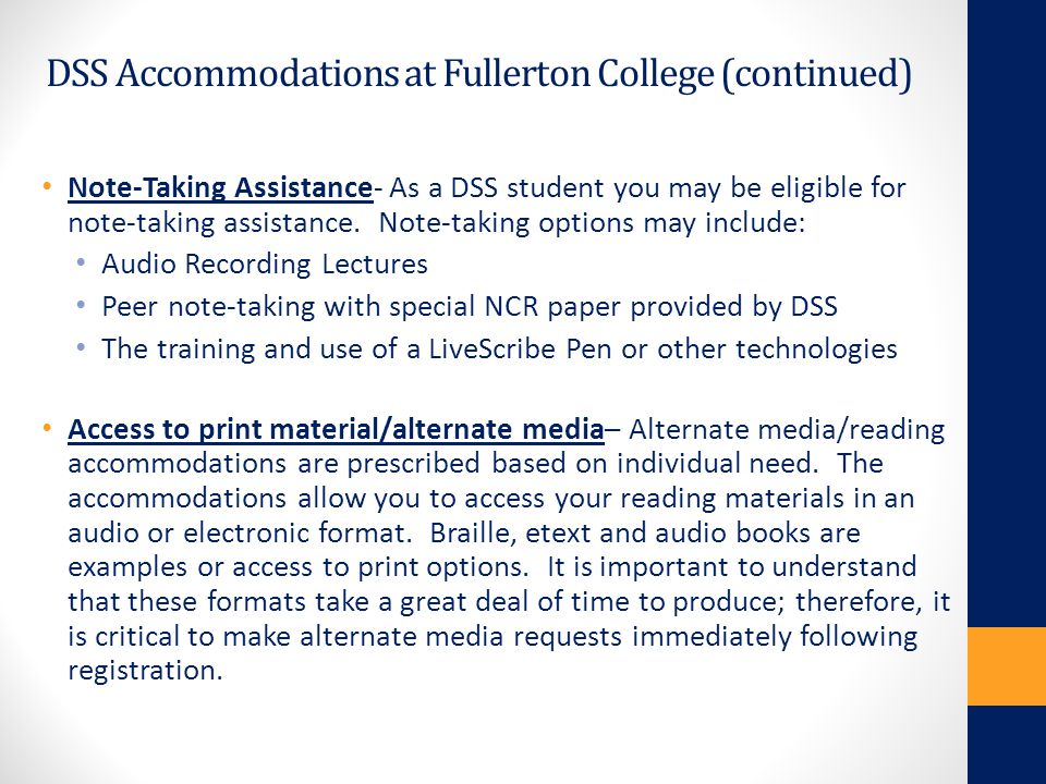 DSS Accommodations at Fullerton College (continued)
