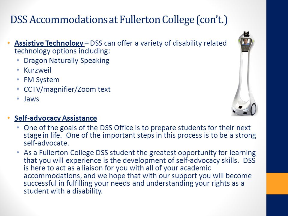 DSS Accommodations at Fullerton College (con't.)