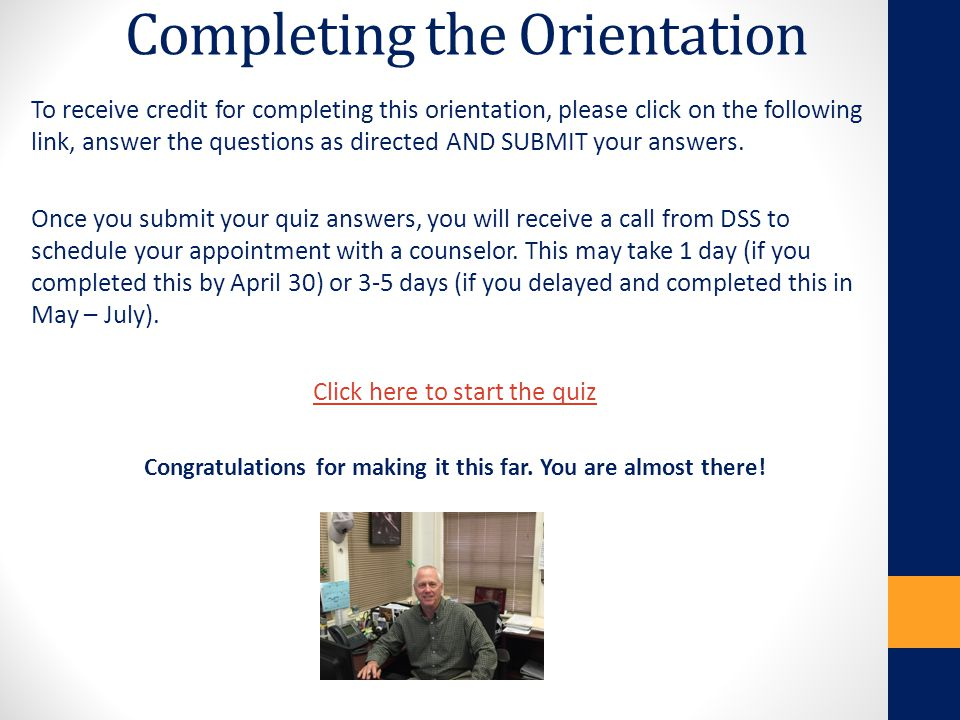 Completing the Orientation