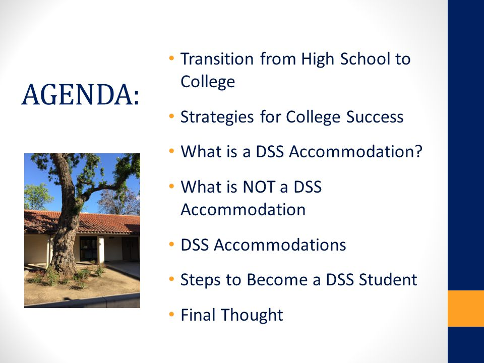 AGENDA: Transition from High School to College