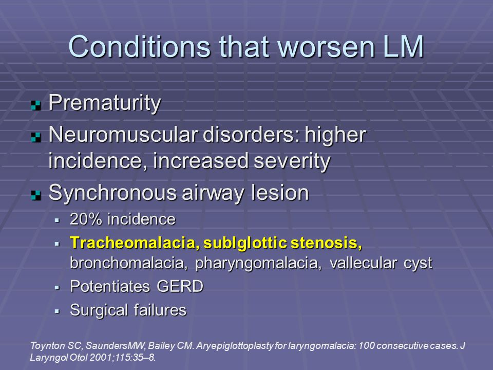 Conditions that worsen LM