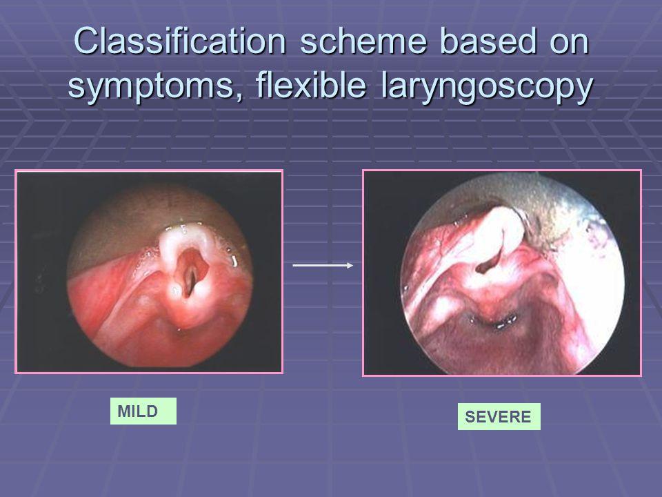 Classification scheme based on symptoms, flexible laryngoscopy