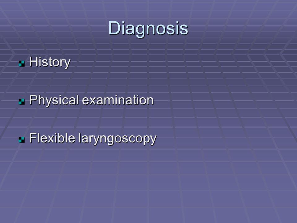 Diagnosis History Physical examination Flexible laryngoscopy