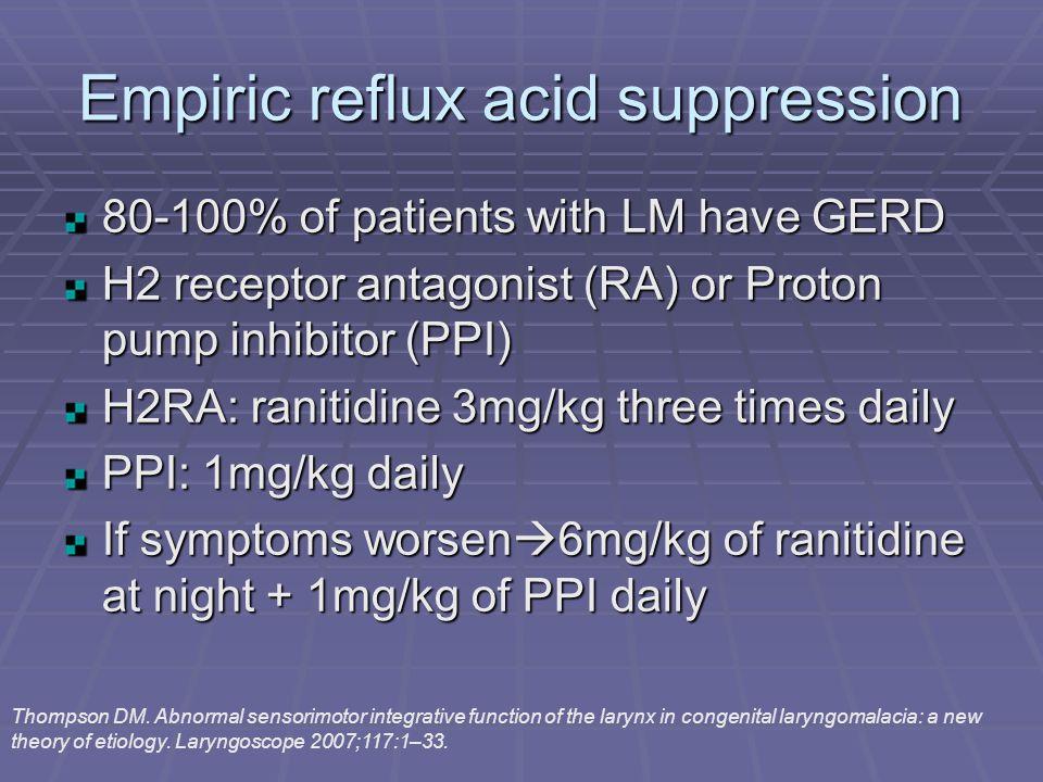 Empiric reflux acid suppression