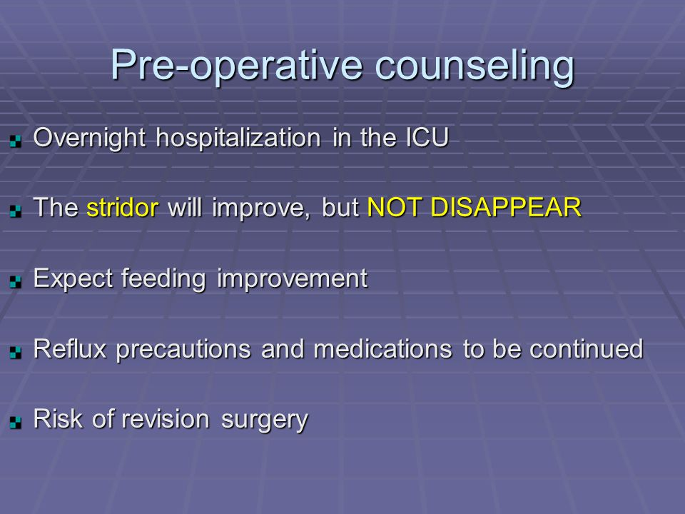 Pre-operative counseling