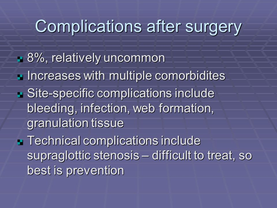 Complications after surgery