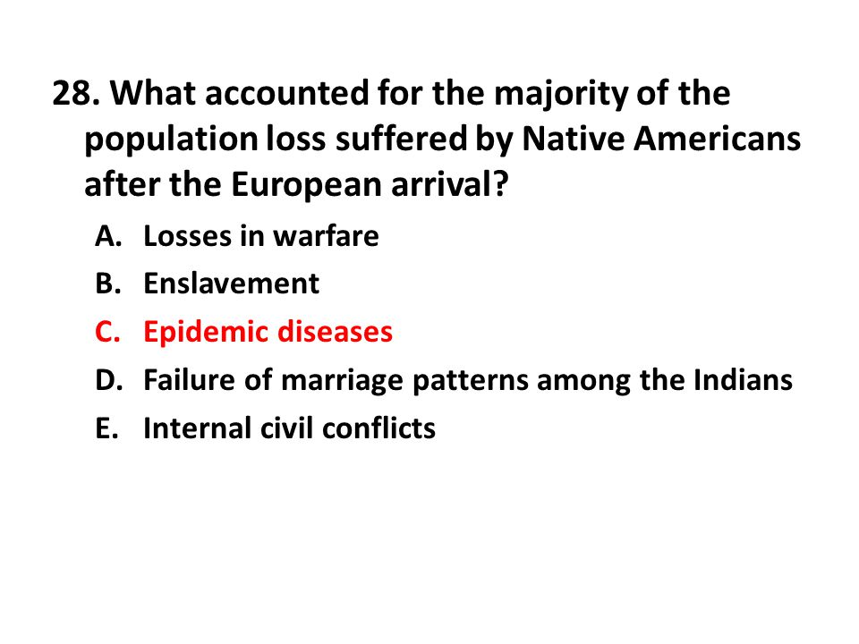 28. What accounted for the majority of the population loss suffered by Native Americans after the European arrival