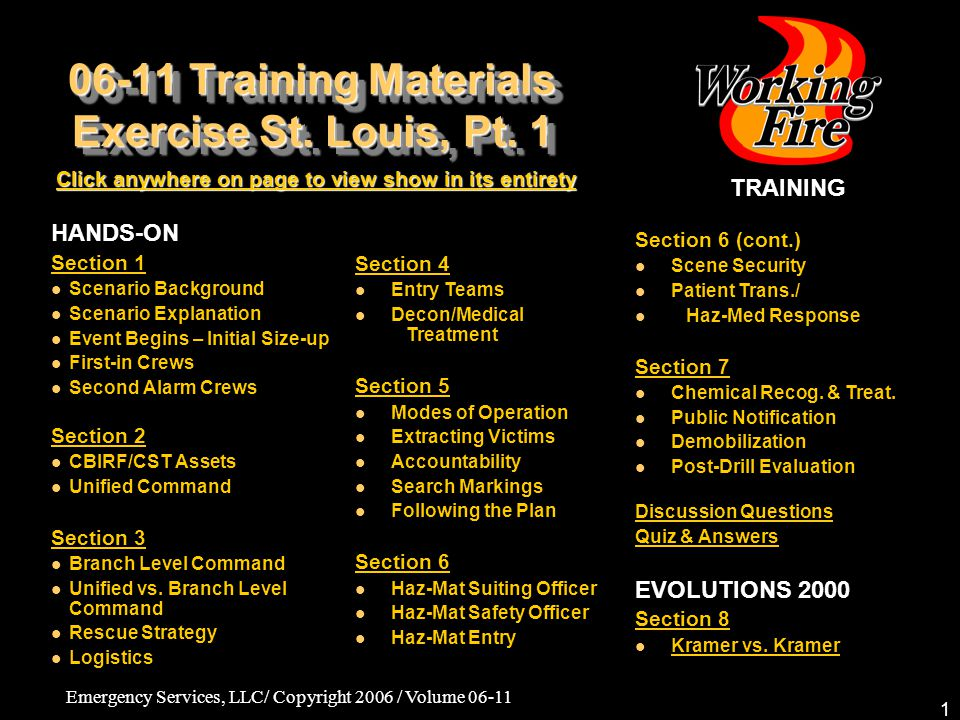 06-11 Training Materials Exercise St. Louis, Pt. 1