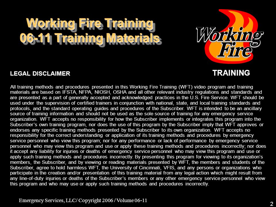 Working Fire Training 06-11 Training Materials
