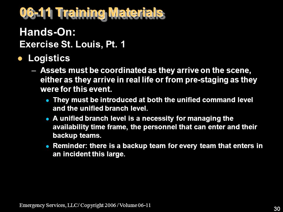 06-11 Training Materials Hands-On: Exercise St. Louis, Pt. 1 Logistics