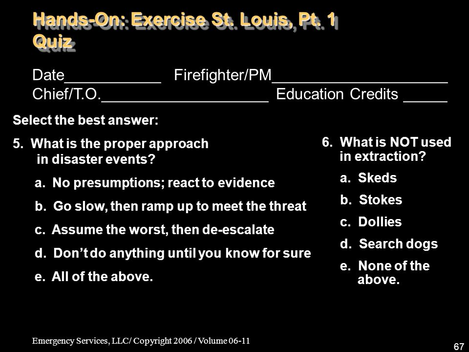 Hands-On: Exercise St. Louis, Pt. 1 Quiz