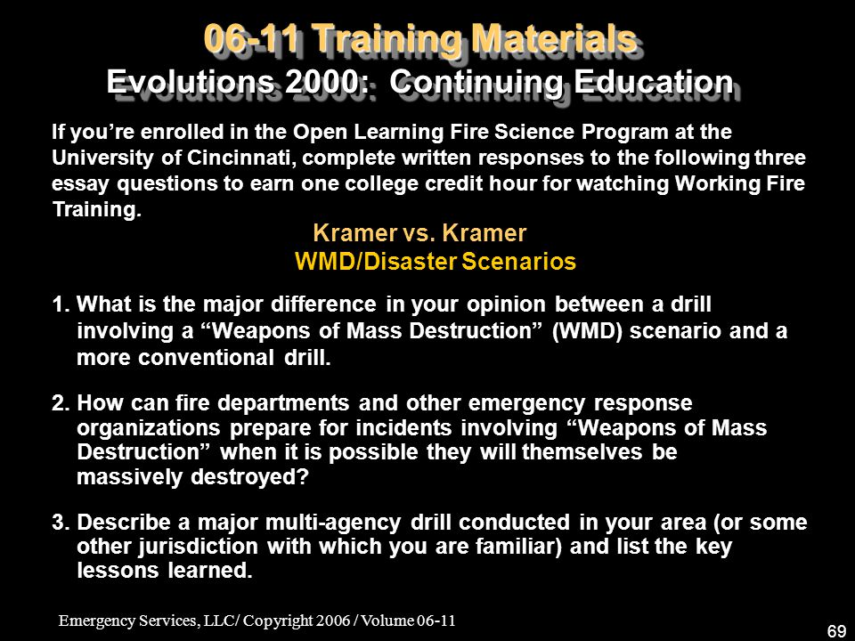 06-11 Training Materials Evolutions 2000: Continuing Education