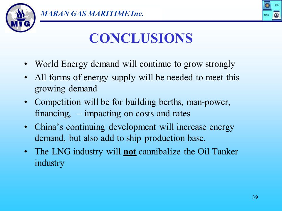CONCLUSIONS World Energy demand will continue to grow strongly