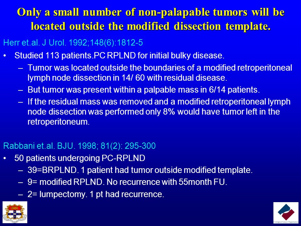 Only a small number of non-palapable tumors will be located outside the modified dissection template.