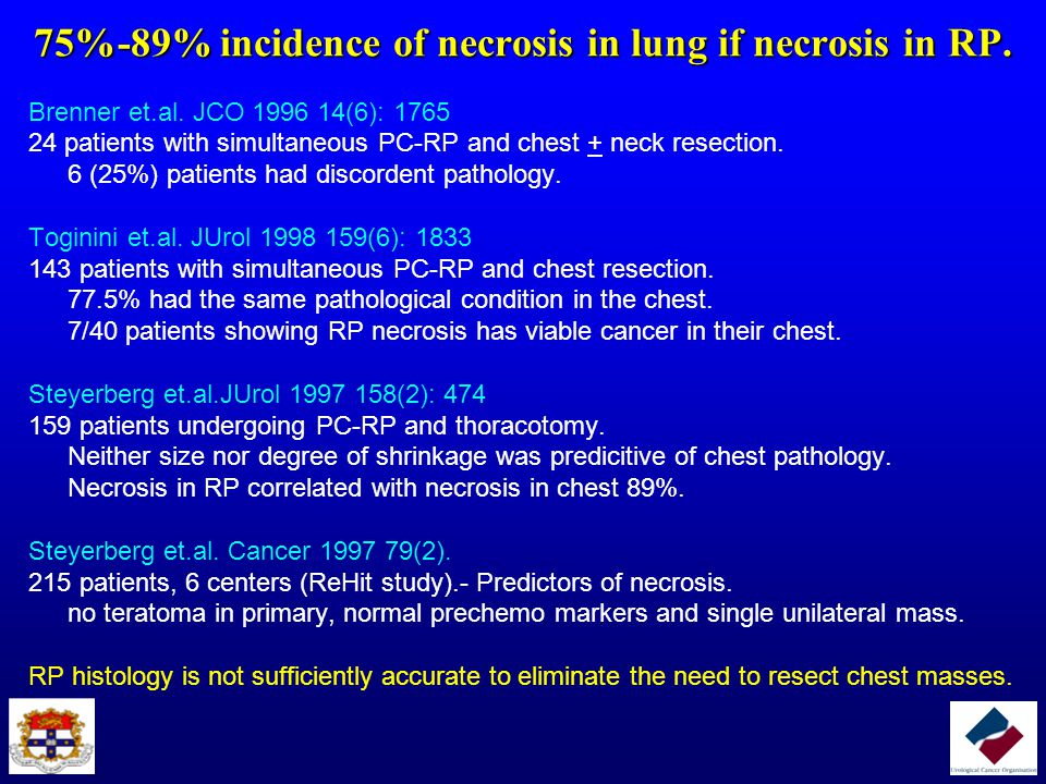75%-89% incidence of necrosis in lung if necrosis in RP.