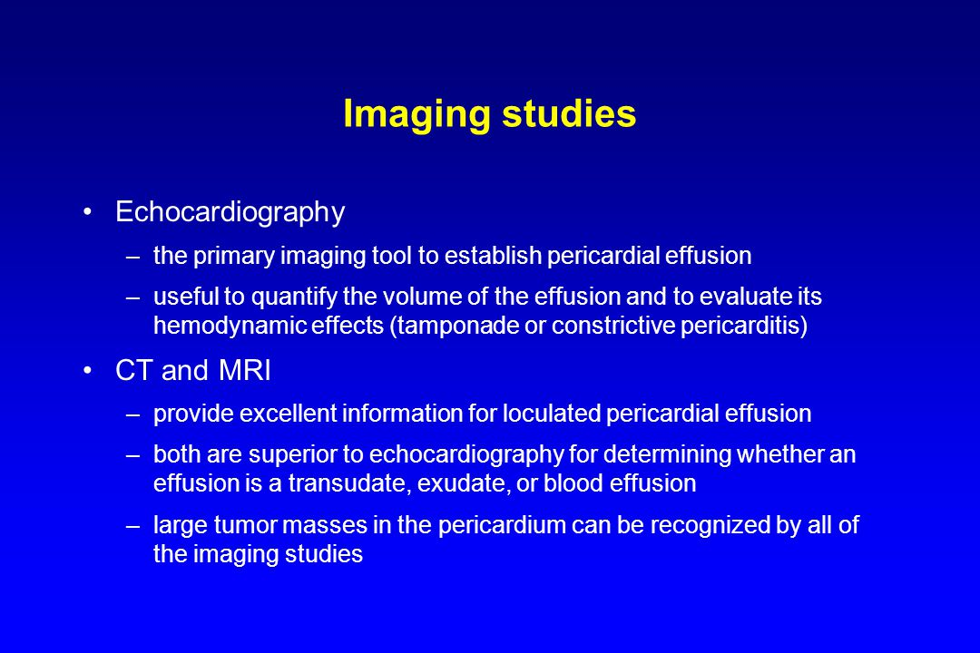 Imaging studies Echocardiography CT and MRI