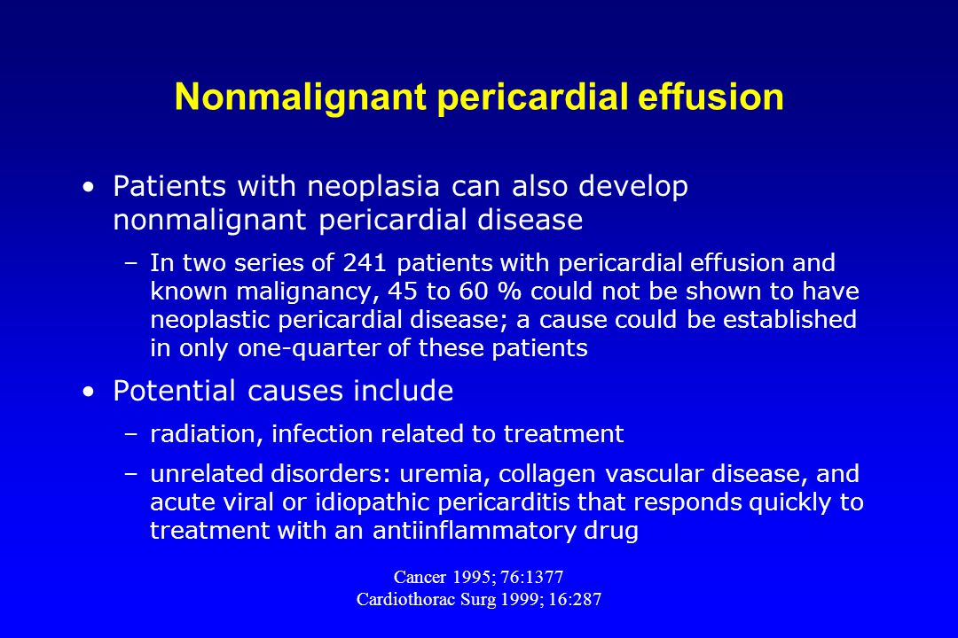 Nonmalignant pericardial effusion