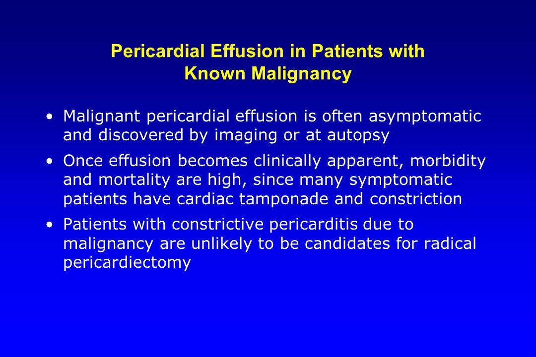 Pericardial Effusion in Patients with Known Malignancy