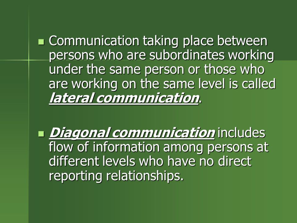 Communication taking place between persons who are subordinates working under the same person or those who are working on the same level is called lateral communication.