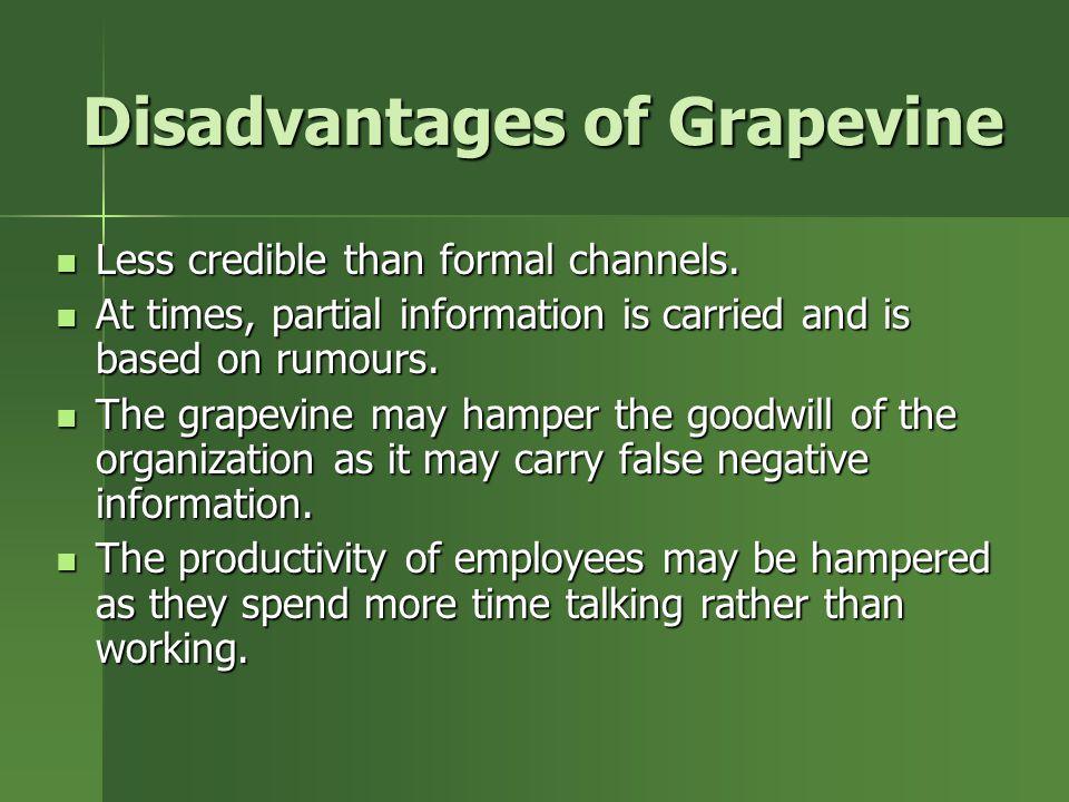 Disadvantages of Grapevine