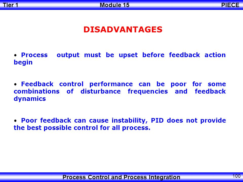 DISADVANTAGES Process output must be upset before feedback action begin.