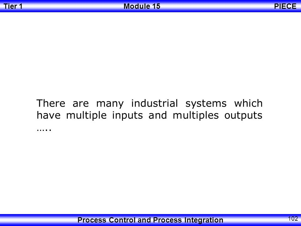 There are many industrial systems which have multiple inputs and multiples outputs …..