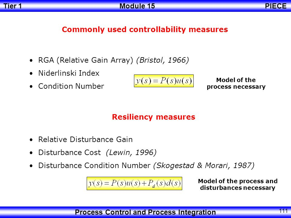 Commonly used controllability measures