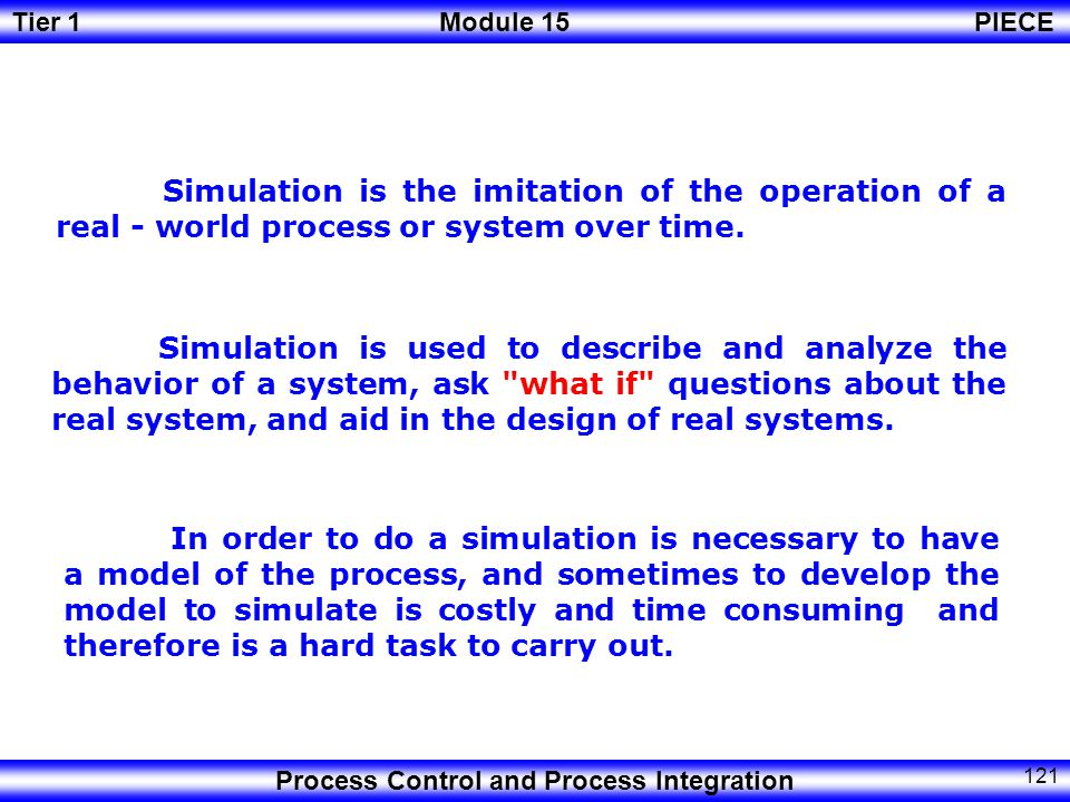 Simulation is the imitation of the operation of a real - world process or system over time.