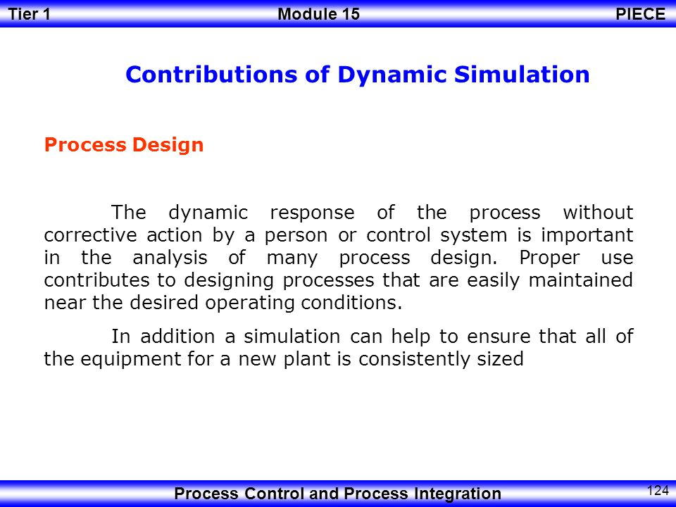 Contributions of Dynamic Simulation