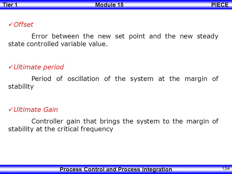 Offset Error between the new set point and the new steady state controlled variable value. Ultimate period.