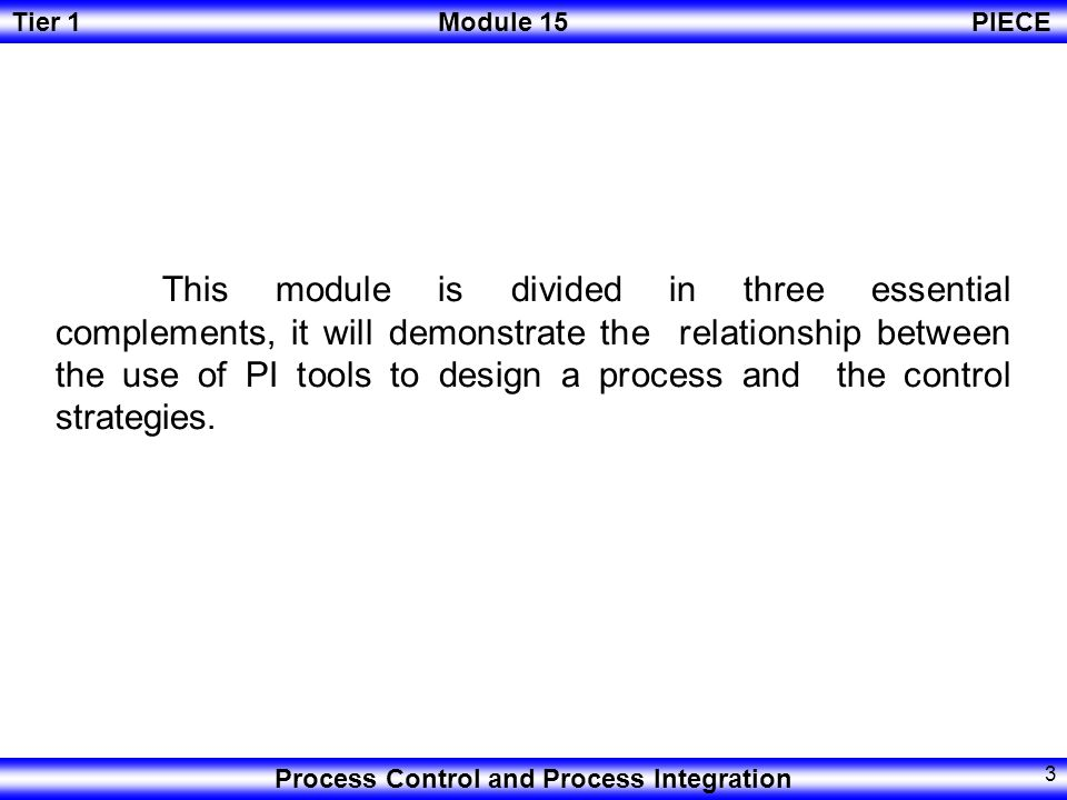 This module is divided in three essential complements, it will demonstrate the relationship between the use of PI tools to design a process and the control strategies.