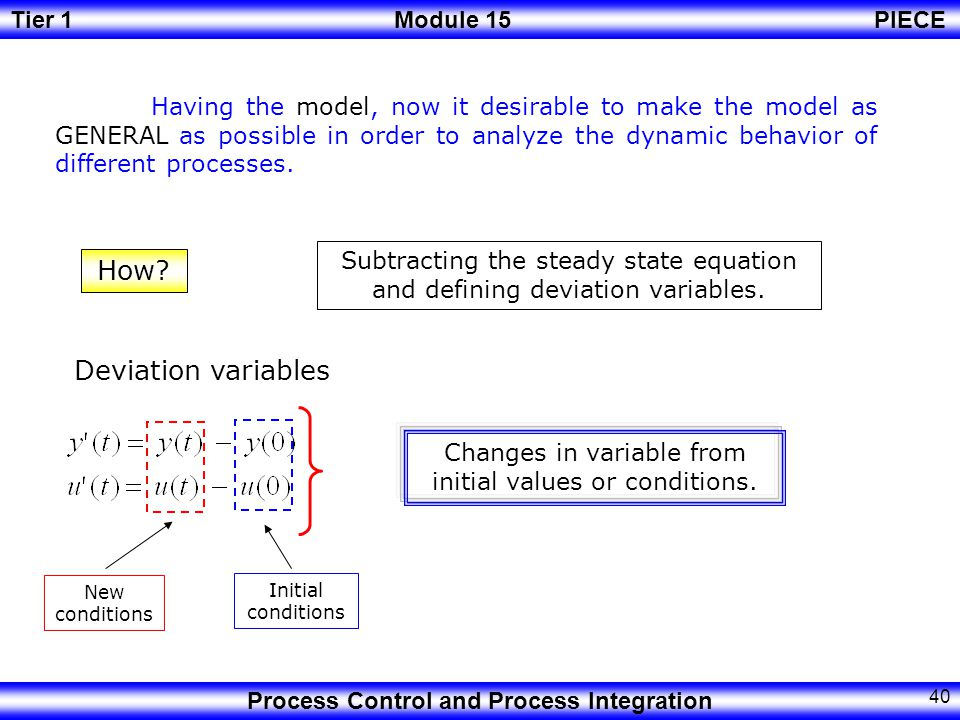 Changes in variable from initial values or conditions.