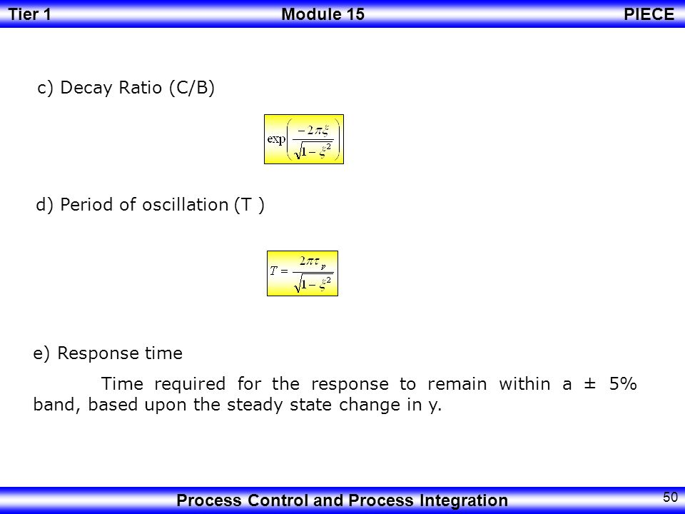 c) Decay Ratio (C/B) d) Period of oscillation (T ) e) Response time.