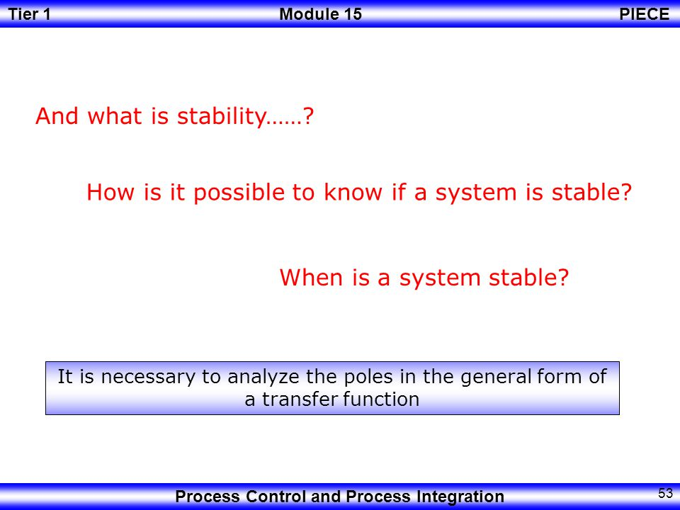 And what is stability……