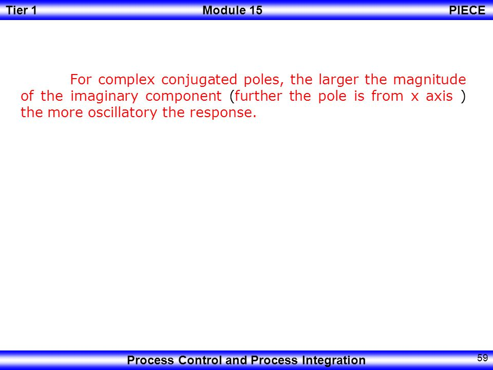 For complex conjugated poles, the larger the magnitude of the imaginary component (further the pole is from x axis ) the more oscillatory the response.