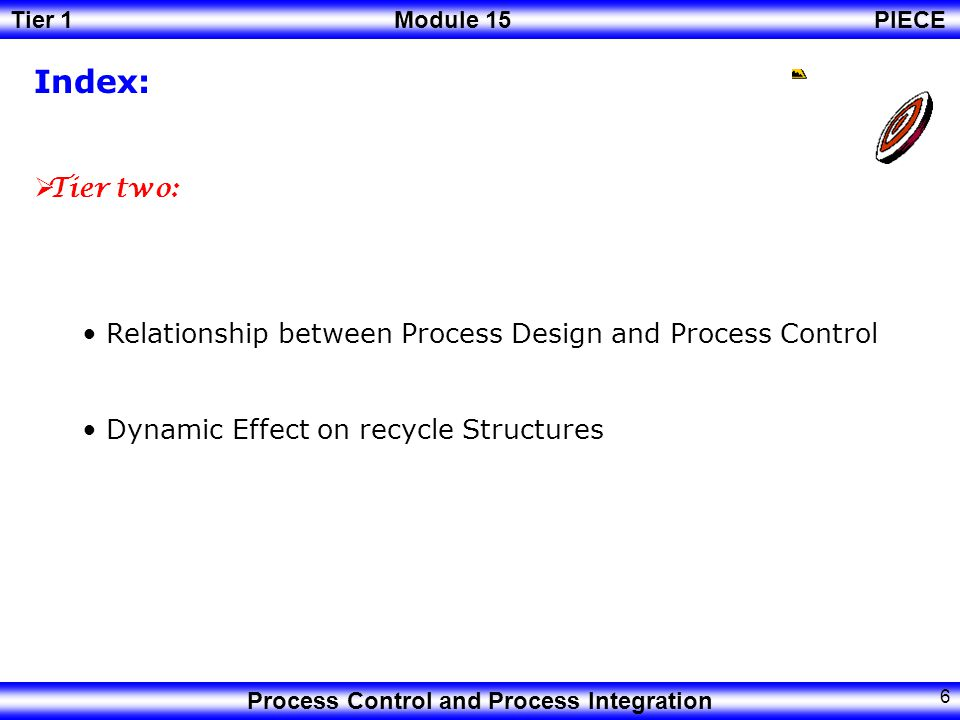 Index: Tier two: Relationship between Process Design and Process Control.
