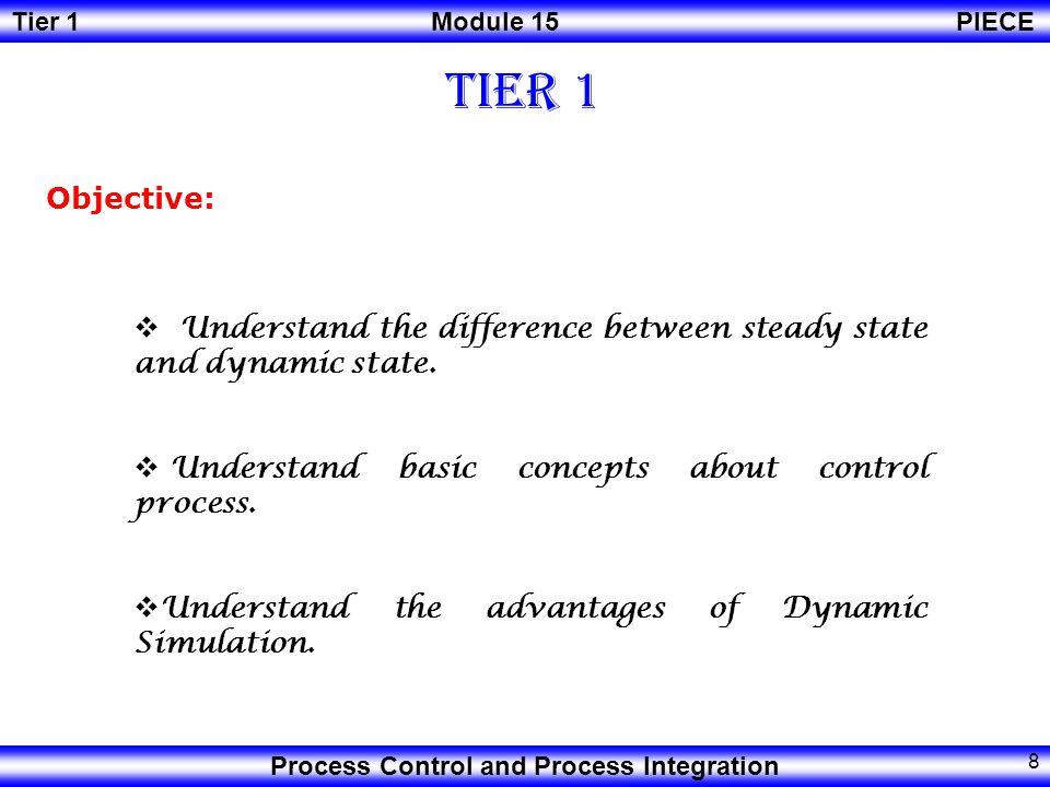 Tier 1 Objective: Understand the difference between steady state and dynamic state. Understand basic concepts about control process.