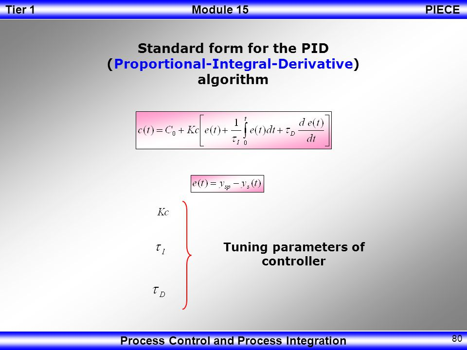Standard form for the PID (Proportional-Integral-Derivative) algorithm