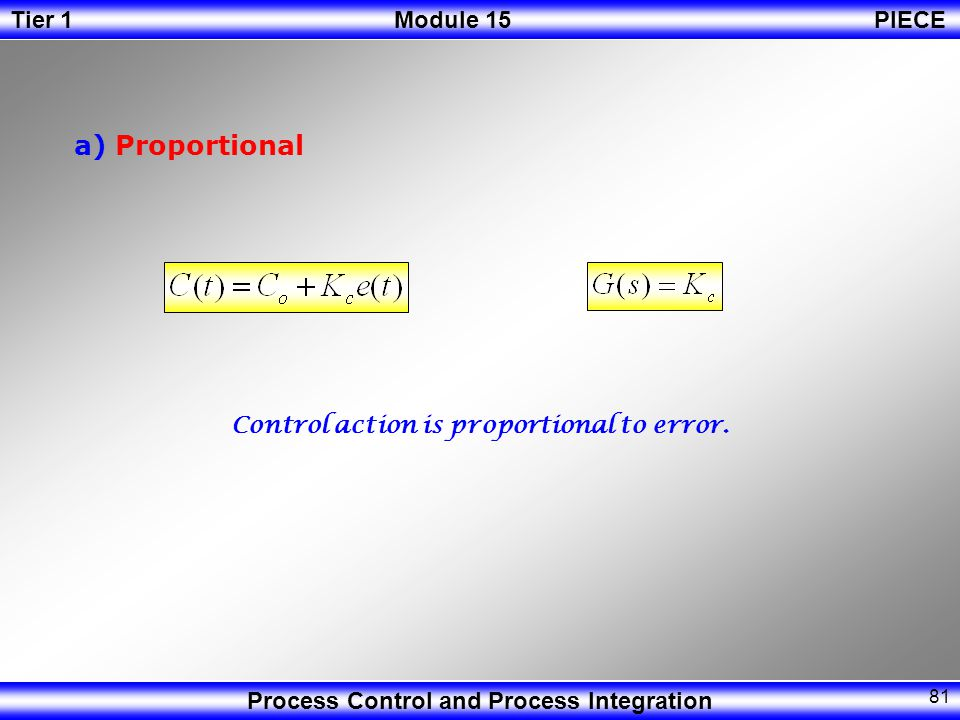 a) Proportional Control action is proportional to error.