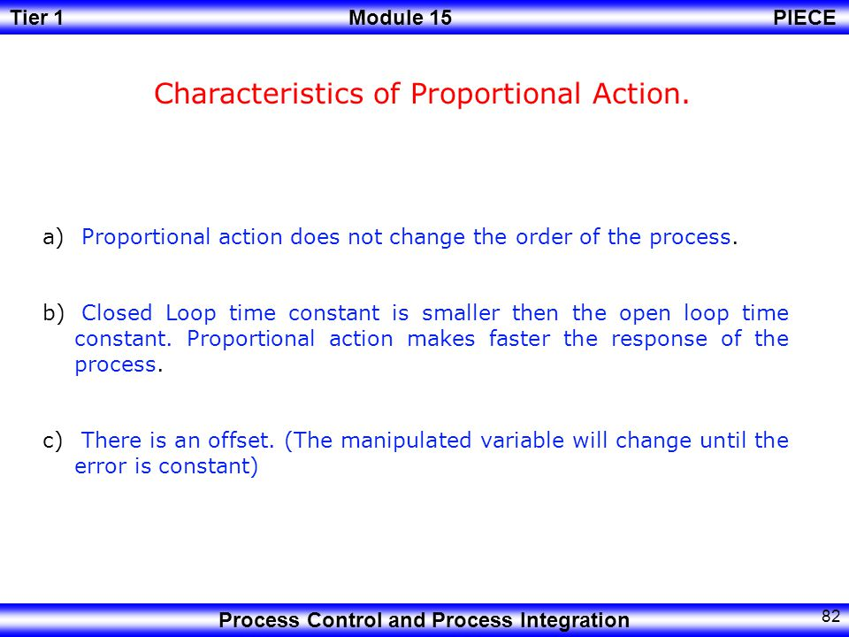 Characteristics of Proportional Action.