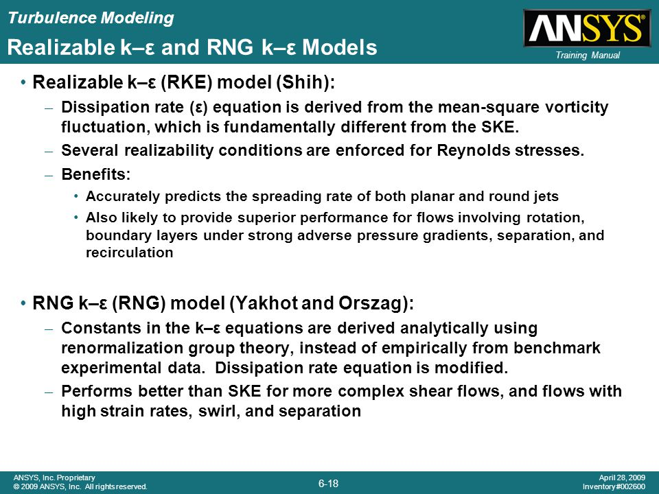 Realizable k–ε and RNG k–ε Models