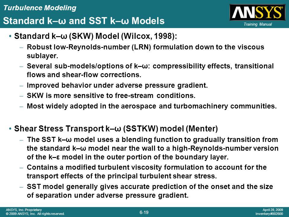 Standard k–ω and SST k–ω Models