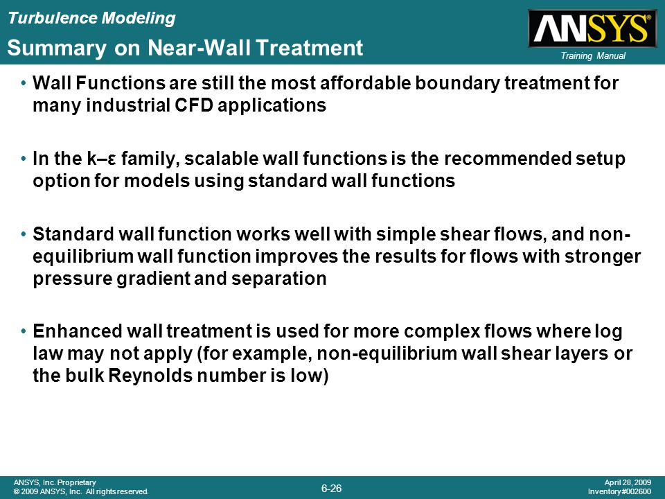Summary on Near-Wall Treatment
