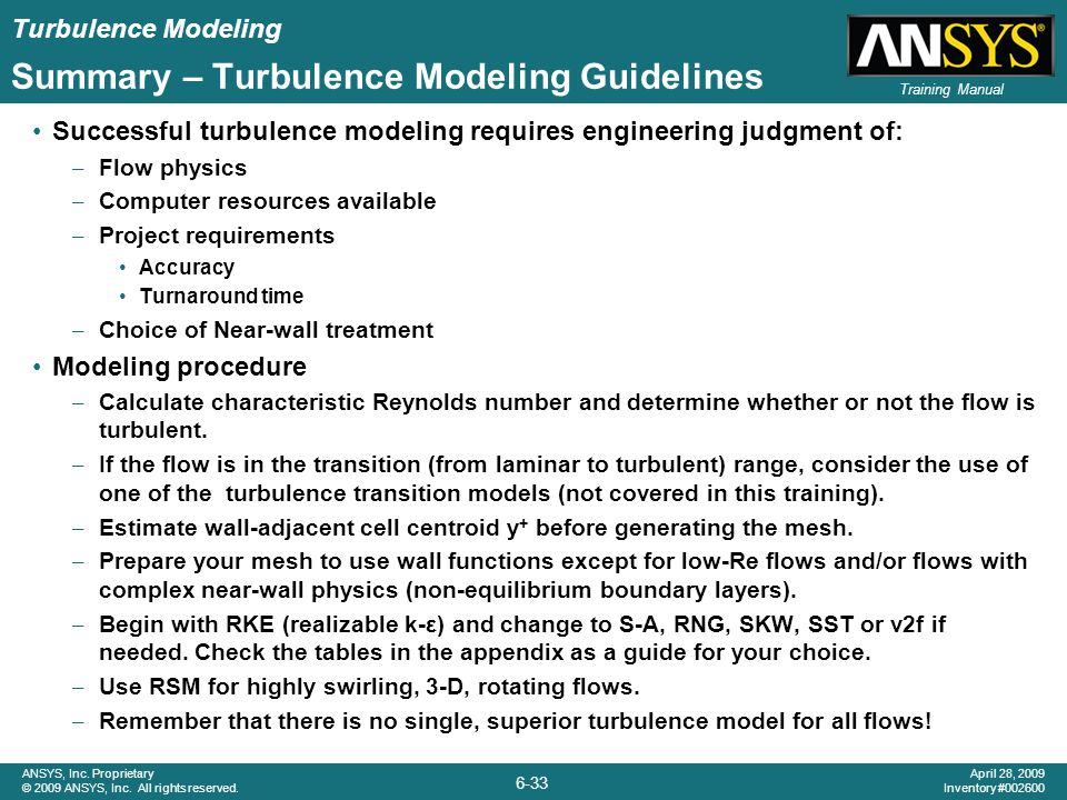 Summary – Turbulence Modeling Guidelines