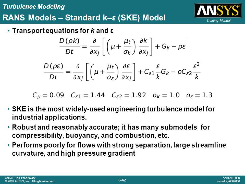 RANS Models – Standard k–ε (SKE) Model