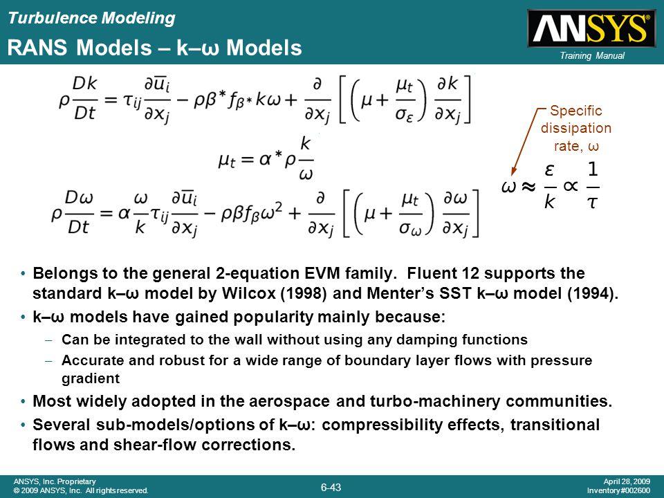 RANS Models – k–ω Models