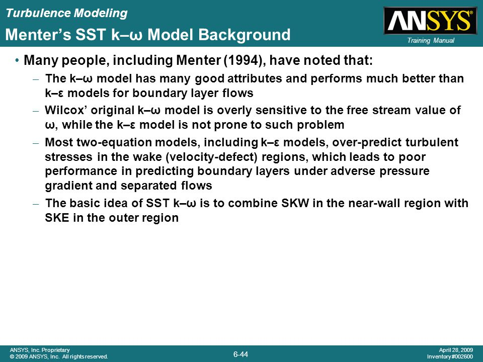 Menter's SST k–ω Model Background