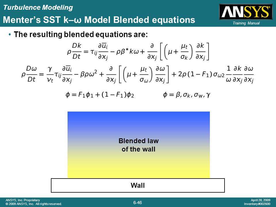 Menter's SST k–ω Model Blended equations