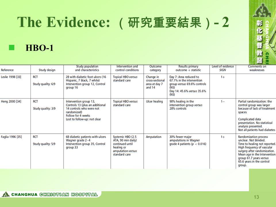 The Evidence: (研究重要結果)- 2
