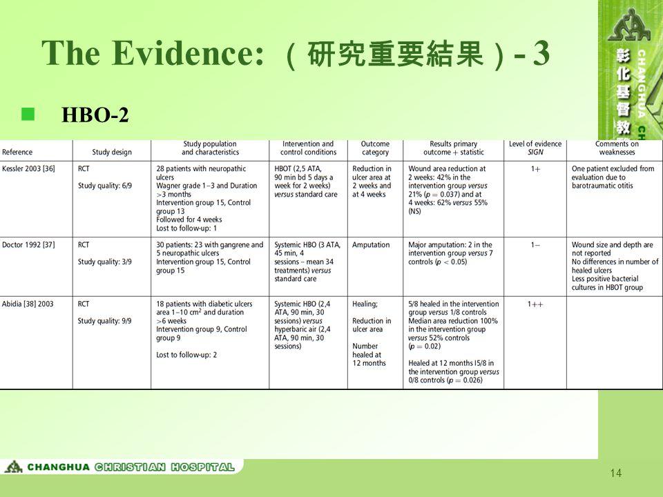 The Evidence: (研究重要結果)- 3